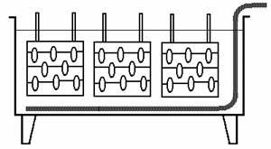 Расположение подвесочных приспособлений и змеевика по длине ванны