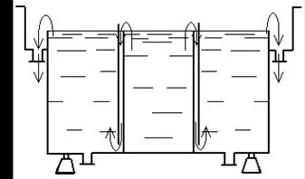 Корпус трёхсекционной ванны двухкаскадной промывки